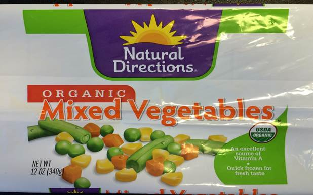 Natural Directions Organic recalled CRF Mixed Vegetables
