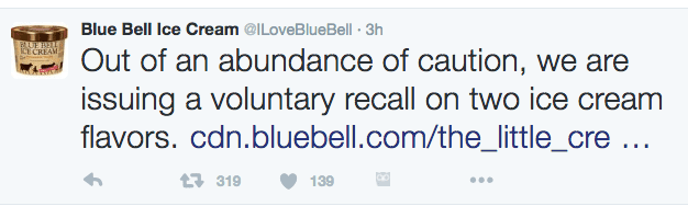 blue bell twitter ice cream recall